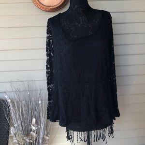 Torrid Black Lace Peplum Blouse Size 1